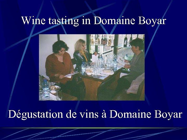 Wine tasting in Domaine Boyar Dégustation de vins à Domaine Boyar