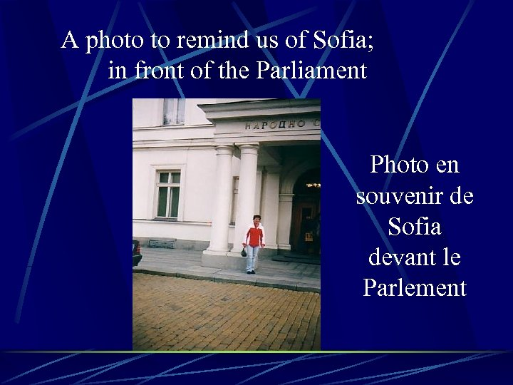 A photo to remind us of Sofia; in front of the Parliament Photo en