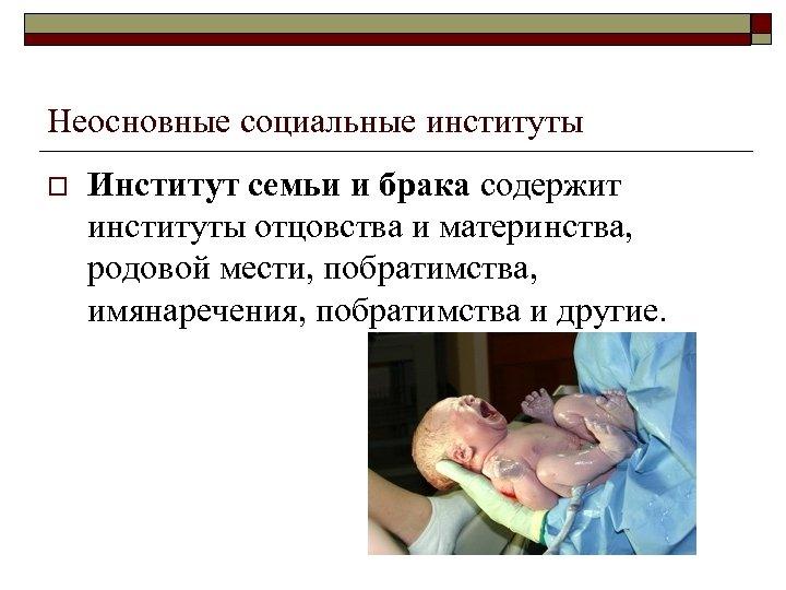 Неосновные социальные институты o Институт семьи и брака содержит институты отцовства и материнства, родовой