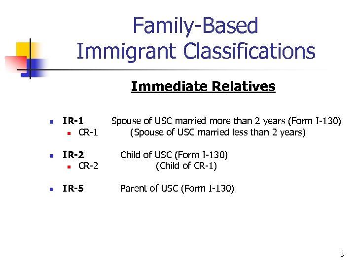 Family-Based Immigrant Classifications Immediate Relatives n n n IR-1 n CR-1 Spouse of USC