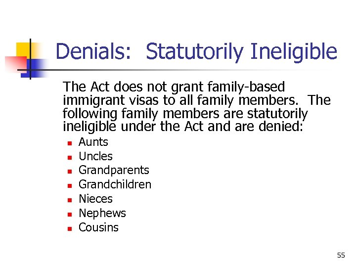 Denials: Statutorily Ineligible The Act does not grant family-based immigrant visas to all family