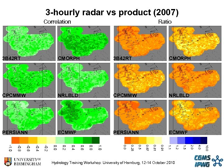 3 -hourly radar vs product (2007) Correlation Ratio 3 B 42 RT CMORPH CPCMMW