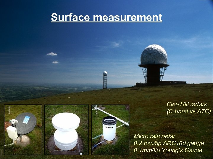Surface measurement Clee Hill radars (C-band vs ATC) Micro rain radar 0. 2 mm/tip