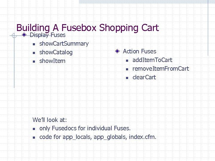 Building A Fusebox Shopping Cart Display Fuses n show. Cart. Summary n show. Catalog