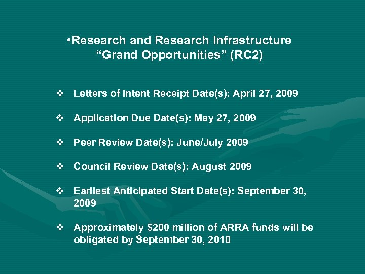 "• Research and Research Infrastructure ""Grand Opportunities"" (RC 2) v Letters of Intent"