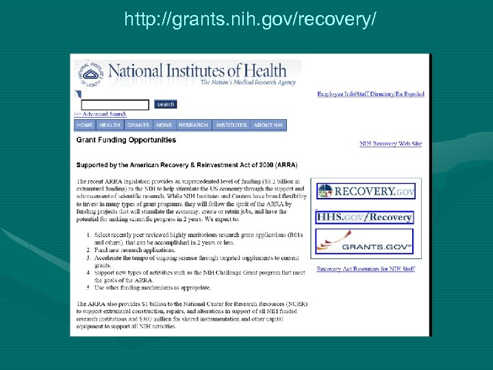 http: //grants. nih. gov/recovery/