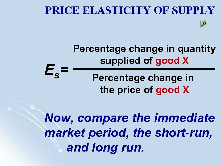 PRICE ELASTICITY OF SUPPLY E s= Percentage change in quantity supplied of good X