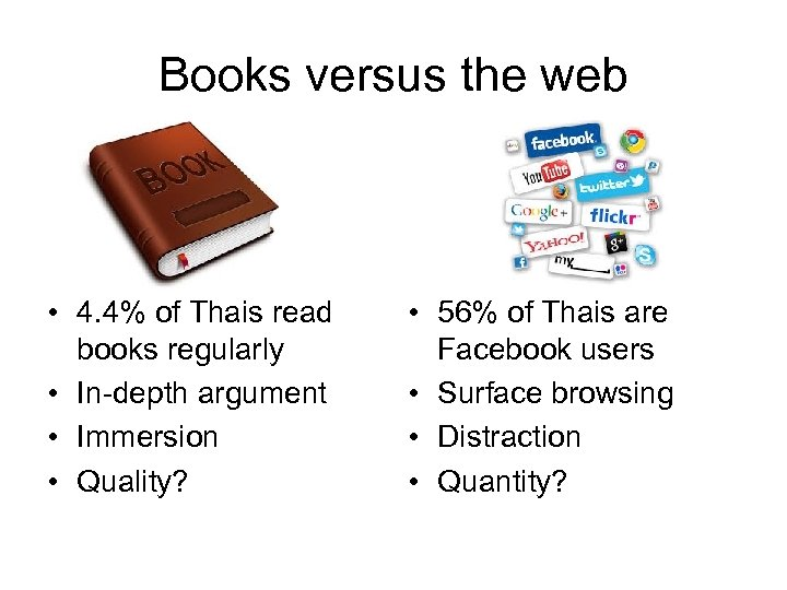 Books versus the web • 4. 4% of Thais read books regularly • In-depth