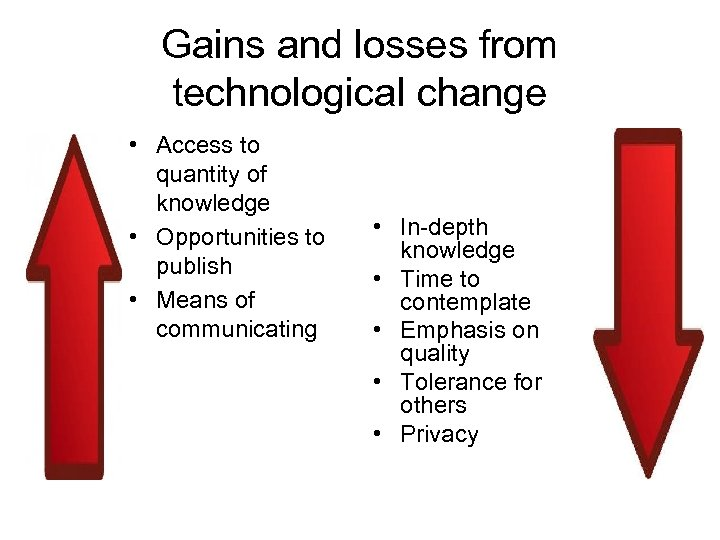 Gains and losses from technological change • Access to quantity of knowledge • Opportunities