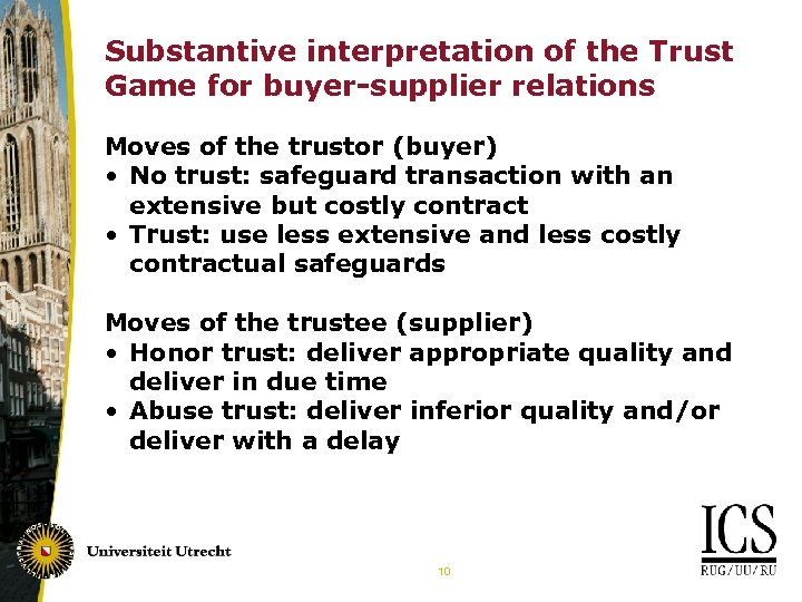 Substantive interpretation of the Trust Game for buyer-supplier relations Moves of the trustor (buyer)