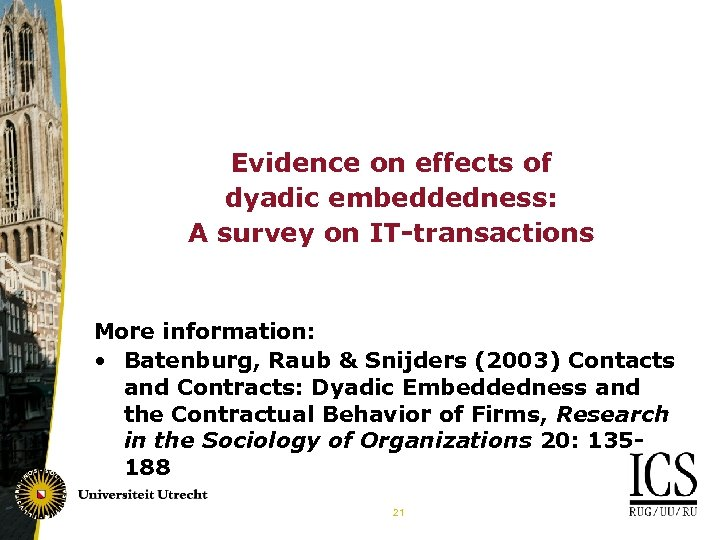 Evidence on effects of dyadic embeddedness: A survey on IT-transactions More information: • Batenburg,