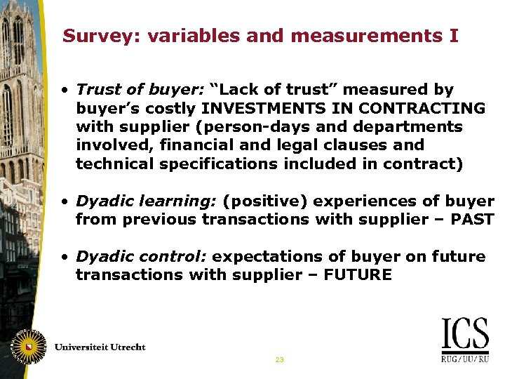 "Survey: variables and measurements I • Trust of buyer: ""Lack of trust"" measured by"