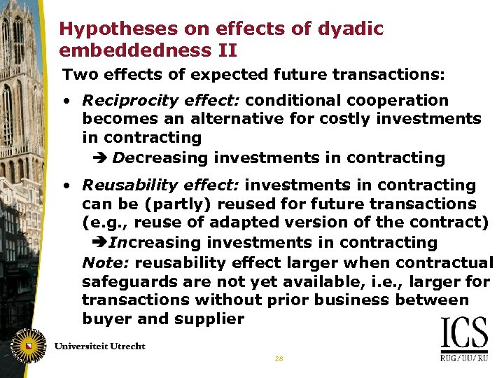 Hypotheses on effects of dyadic embeddedness II Two effects of expected future transactions: •