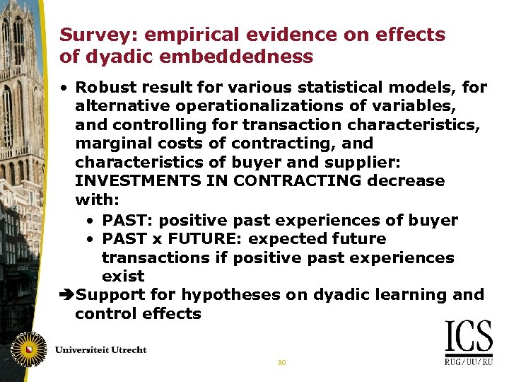 Survey: empirical evidence on effects of dyadic embeddedness • Robust result for various statistical