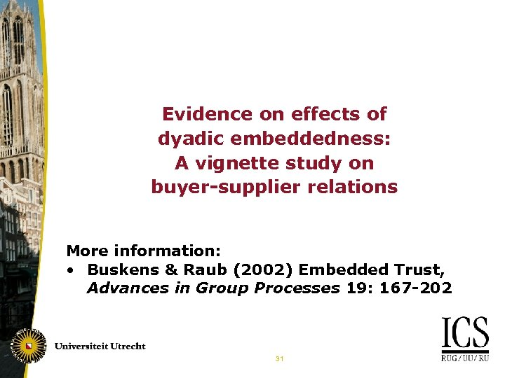 Evidence on effects of dyadic embeddedness: A vignette study on buyer-supplier relations More information: