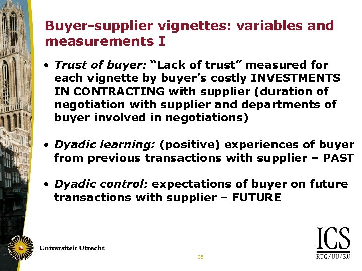 "Buyer-supplier vignettes: variables and measurements I • Trust of buyer: ""Lack of trust"" measured"