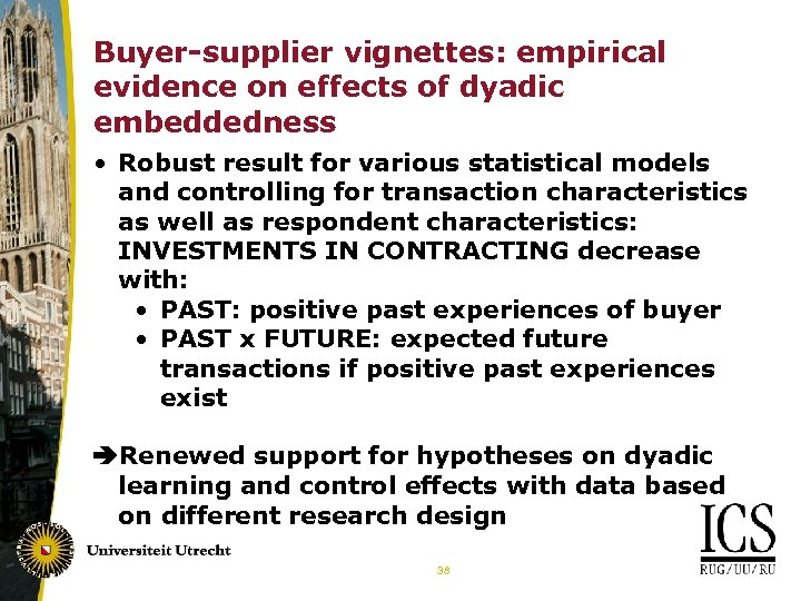 Buyer-supplier vignettes: empirical evidence on effects of dyadic embeddedness • Robust result for various