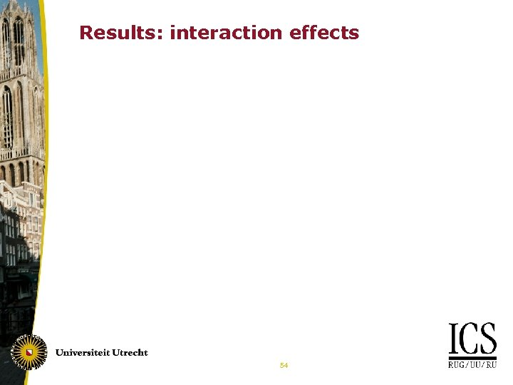 Results: interaction effects 54