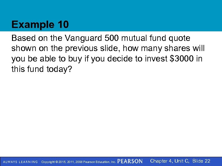 Example 10 Based on the Vanguard 500 mutual fund quote shown on the previous