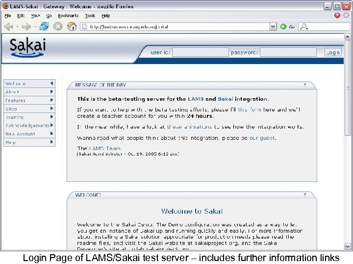 Login Page of LAMS/Sakai test server – includes further information links