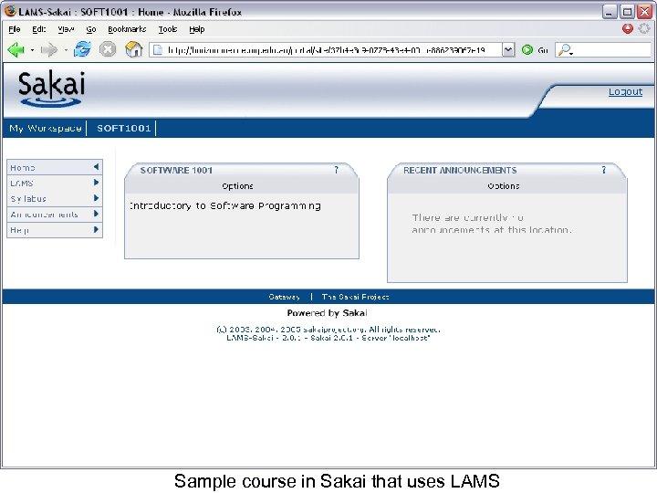 Sample course in Sakai that uses LAMS