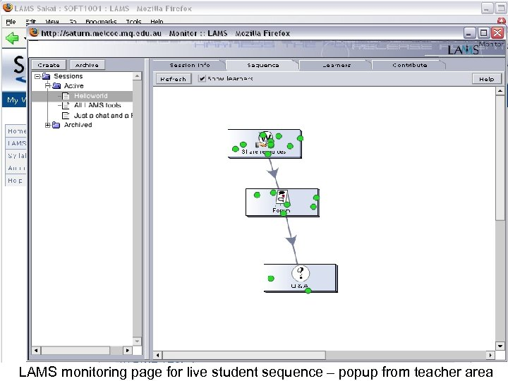 LAMS monitoring page for live student sequence – popup from teacher area