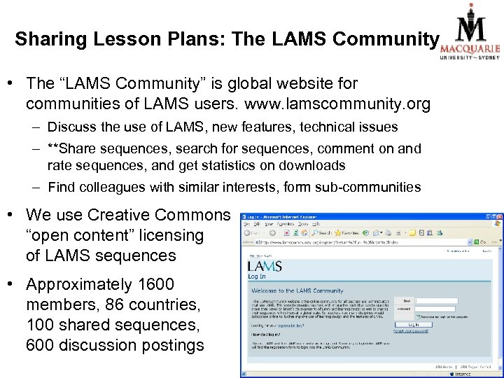 """Sharing Lesson Plans: The LAMS Community • The """"LAMS Community"""" is global website for"""