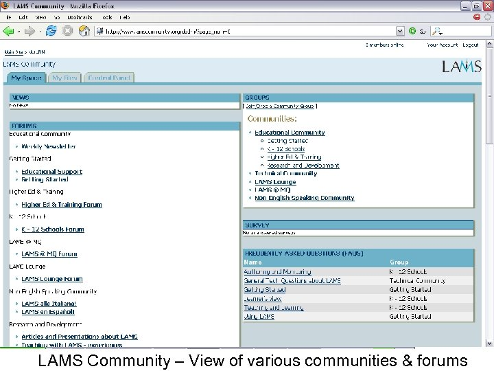 LAMS Community – View of various communities & forums