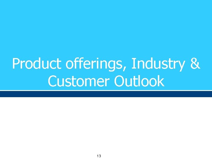 Product offerings, Industry & Customer Outlook 13