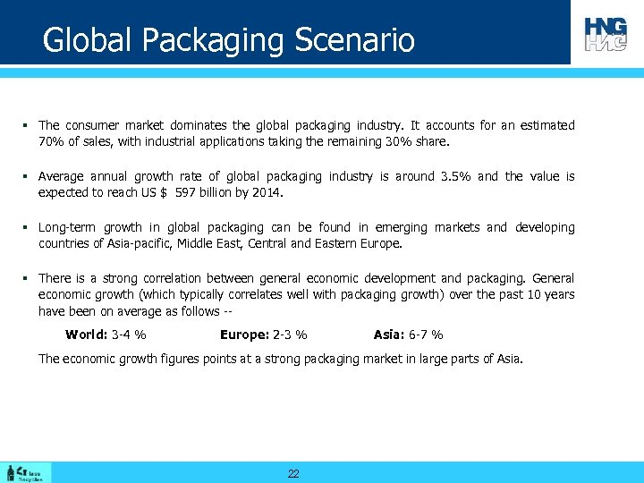 Global Packaging Scenario § The consumer market dominates the global packaging industry. It accounts