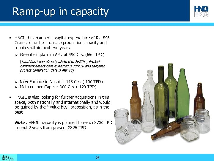 Ramp-up in capacity § HNGIL has planned a capital expenditure of Rs. 896 Crores