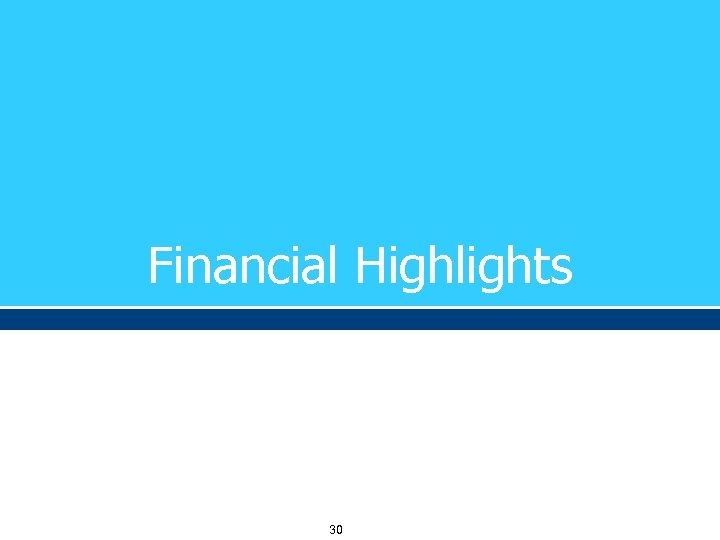 Financial Highlights 30