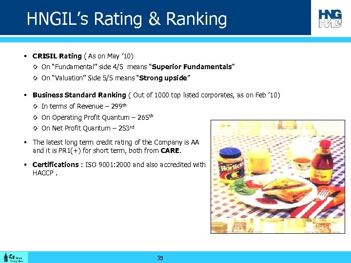 HNGIL's Rating & Ranking § CRISIL Rating ( As on May ' 10) ◊