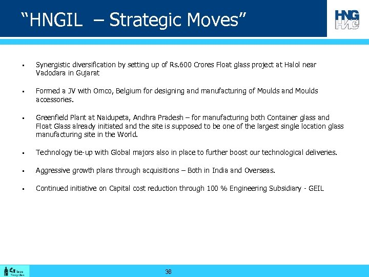 """HNGIL – Strategic Moves"" § § § Synergistic diversification by setting up of Rs."