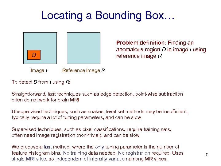 Locating a Bounding Box… Problem definition: Finding an anomalous region D in image I