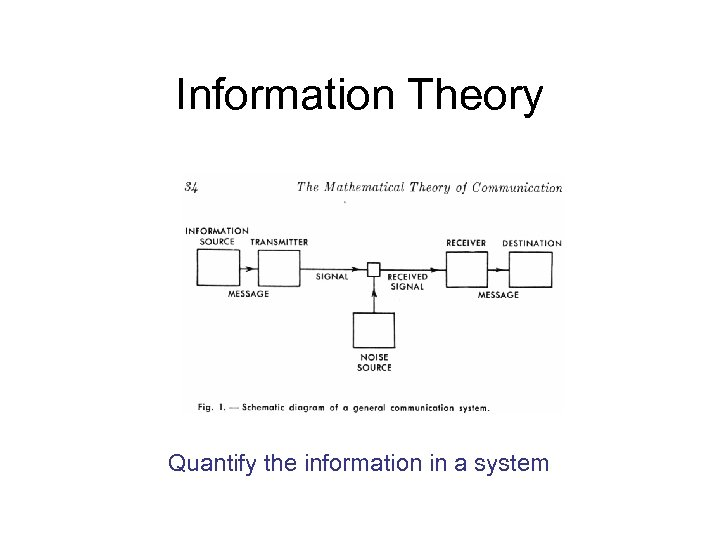 Information Theory Quantify the information in a system