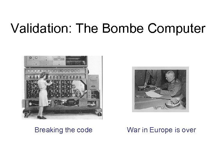 Validation: The Bombe Computer Breaking the code War in Europe is over