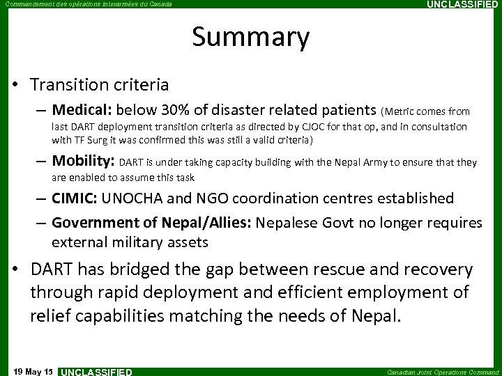 UNCLASSIFIED Commandement des opérations interarmées du Canada Summary • Transition criteria – Medical: below