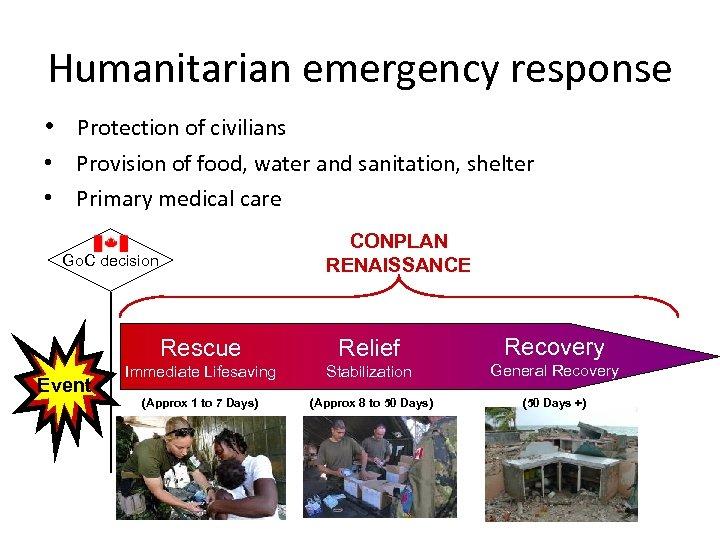 Humanitarian emergency response • Protection of civilians • Provision of food, water and sanitation,