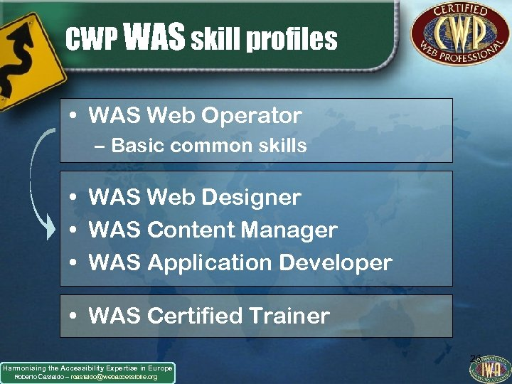 CWP WAS skill profiles • WAS Web Operator – Basic common skills • WAS