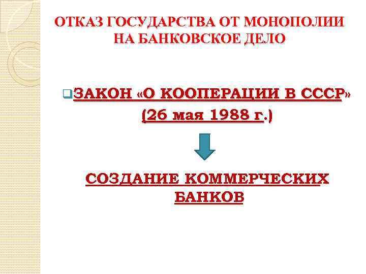 ОТКАЗ ГОСУДАРСТВА ОТ МОНОПОЛИИ НА БАНКОВСКОЕ ДЕЛО q. ЗАКОН «О КООПЕРАЦИИ В СССР» (26