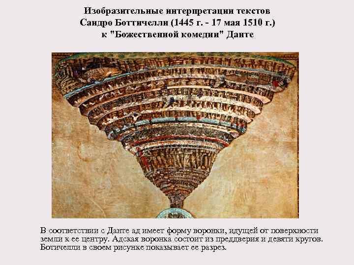 Изобразительные интерпретации текстов Сандро Боттичелли (1445 г. - 17 мая 1510 г. ) к