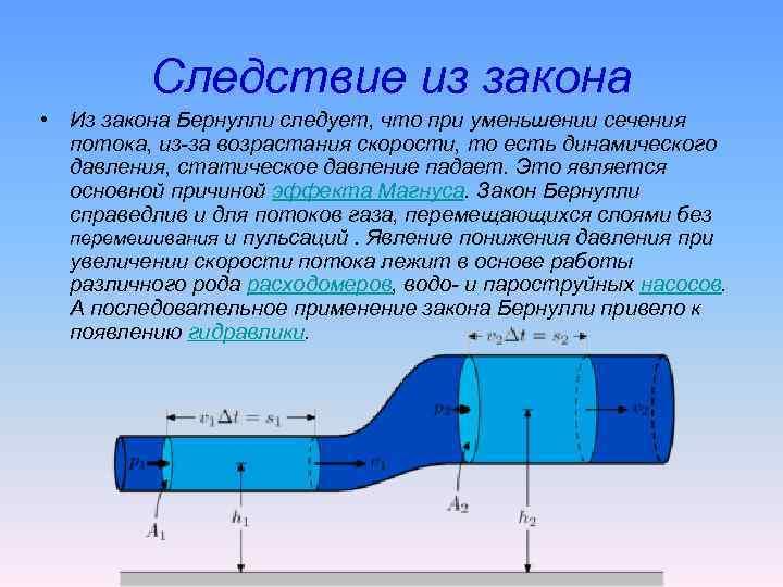 Следствие из закона • Из закона Бернулли следует, что при уменьшении сечения потока, из-за