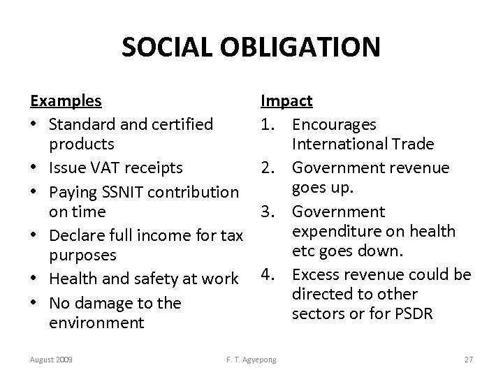 SOCIAL OBLIGATION Examples • Standard and certified products • Issue VAT receipts • Paying