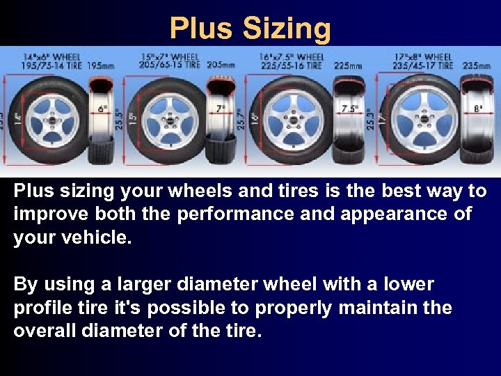 Plus Sizing Plus sizing your wheels and tires is the best way to improve