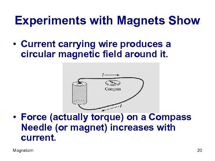 Experiments with Magnets Show • Current carrying wire produces a circular magnetic field around