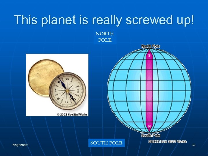 This planet is really screwed up! NORTH POLE Magnetism SOUTH POLE 32