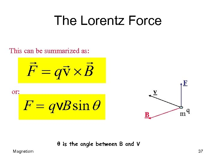 The Lorentz Force This can be summarized as: F or: v B mq q