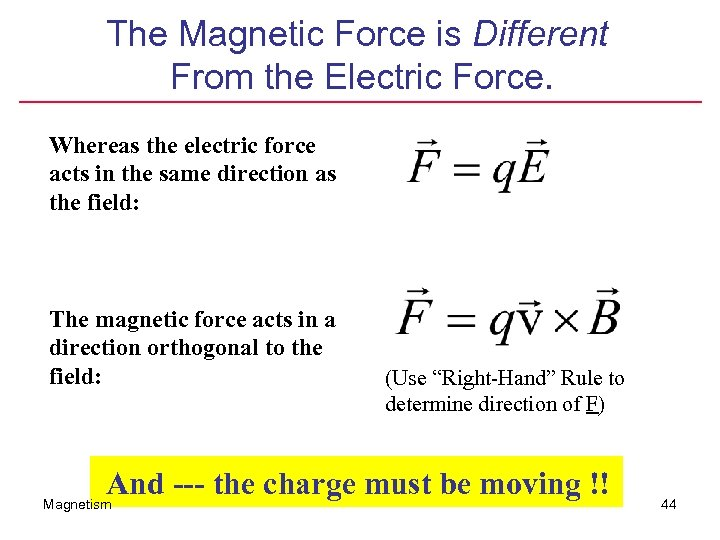The Magnetic Force is Different From the Electric Force. Whereas the electric force acts