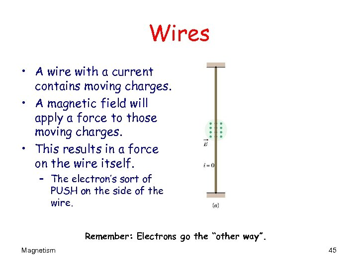 Wires • A wire with a current contains moving charges. • A magnetic field